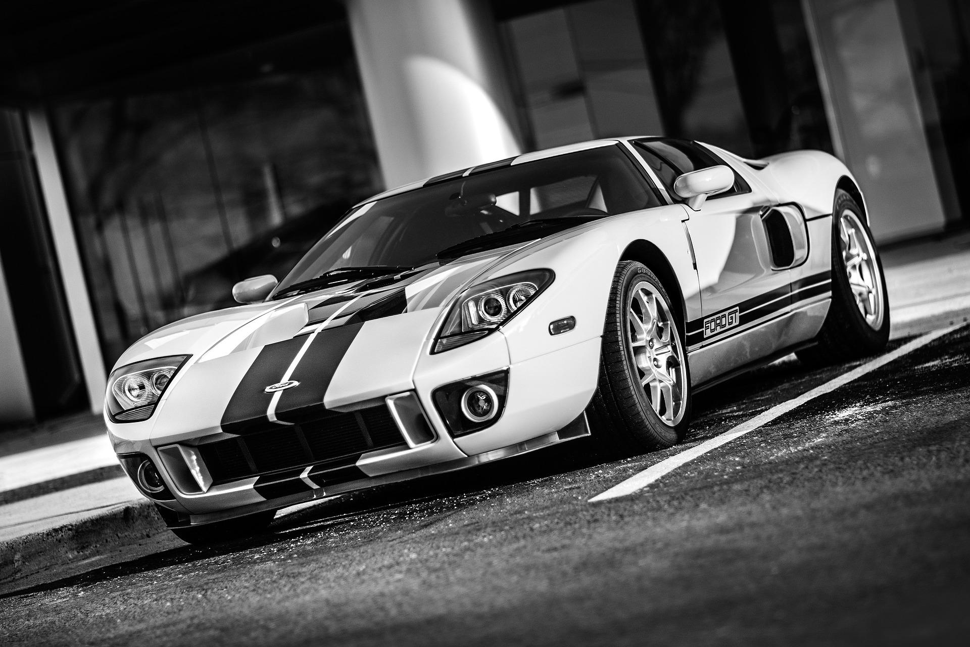 carro, Ford, GT, velocidade, automóvel, em preto e branco - Papéis de parede HD - Professor-falken.com