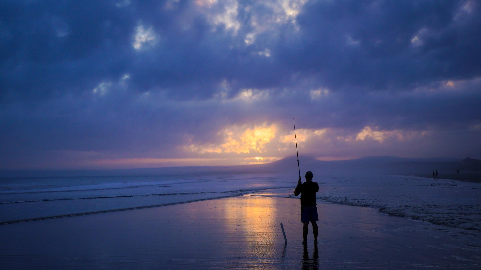 человек, Рыбалка, Море, Небо, облака - Обои HD - Профессор falken.com