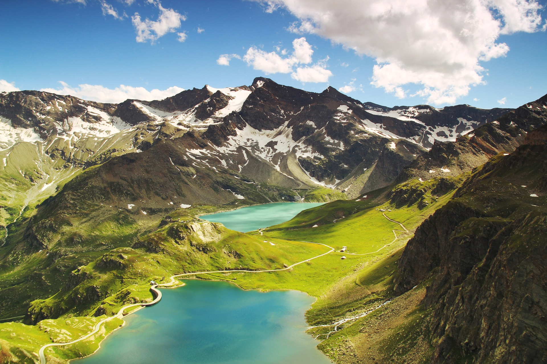 montañas, pradera, lago, nieve, italia, paisaje, vista aérea - Fondos de Pantalla HD - professor-falken.com
