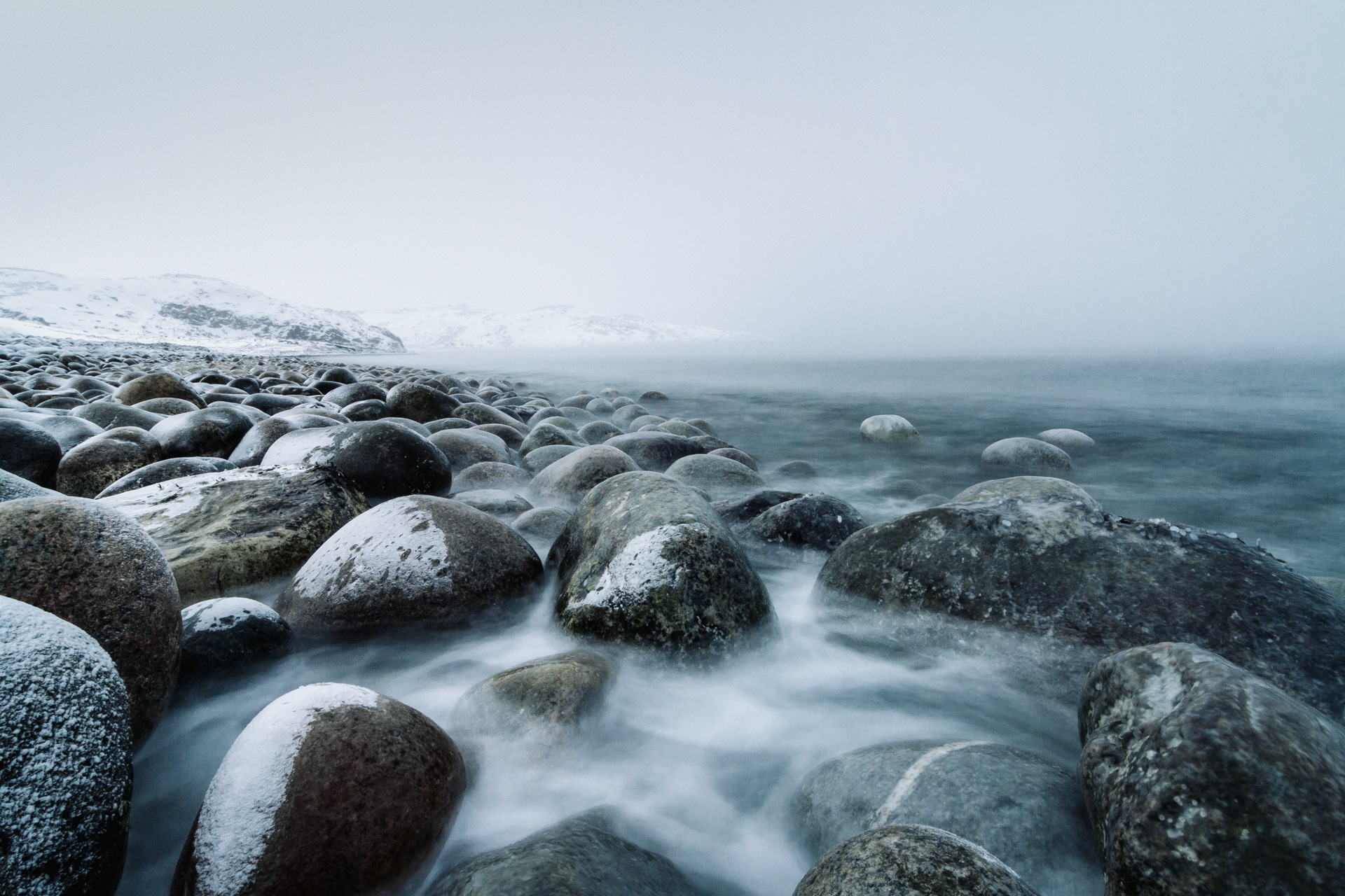 туман, камни, холодная, снег, облака, воды, Обои HD - Профессор falken.com