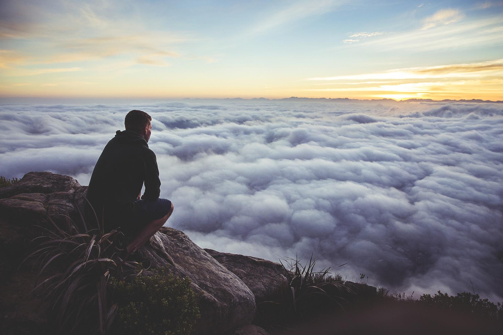 云彩, 太阳, 日落, 男子, 山脉, 雾, 放松, 灵感 - 高清壁纸 - 教授-falken.com