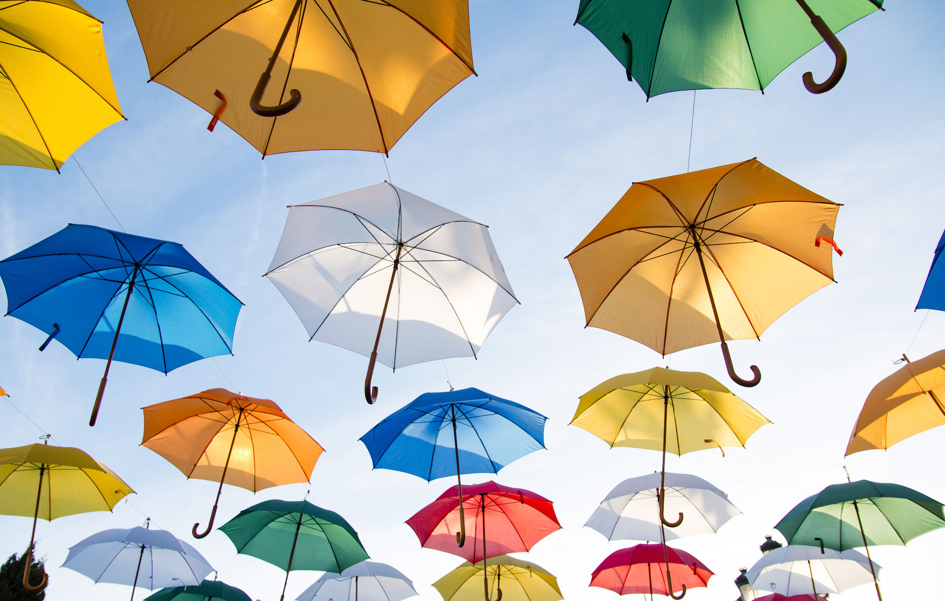 зонтик, цвета, Небо, Муха, Искусство - Обои HD - Профессор falken.com
