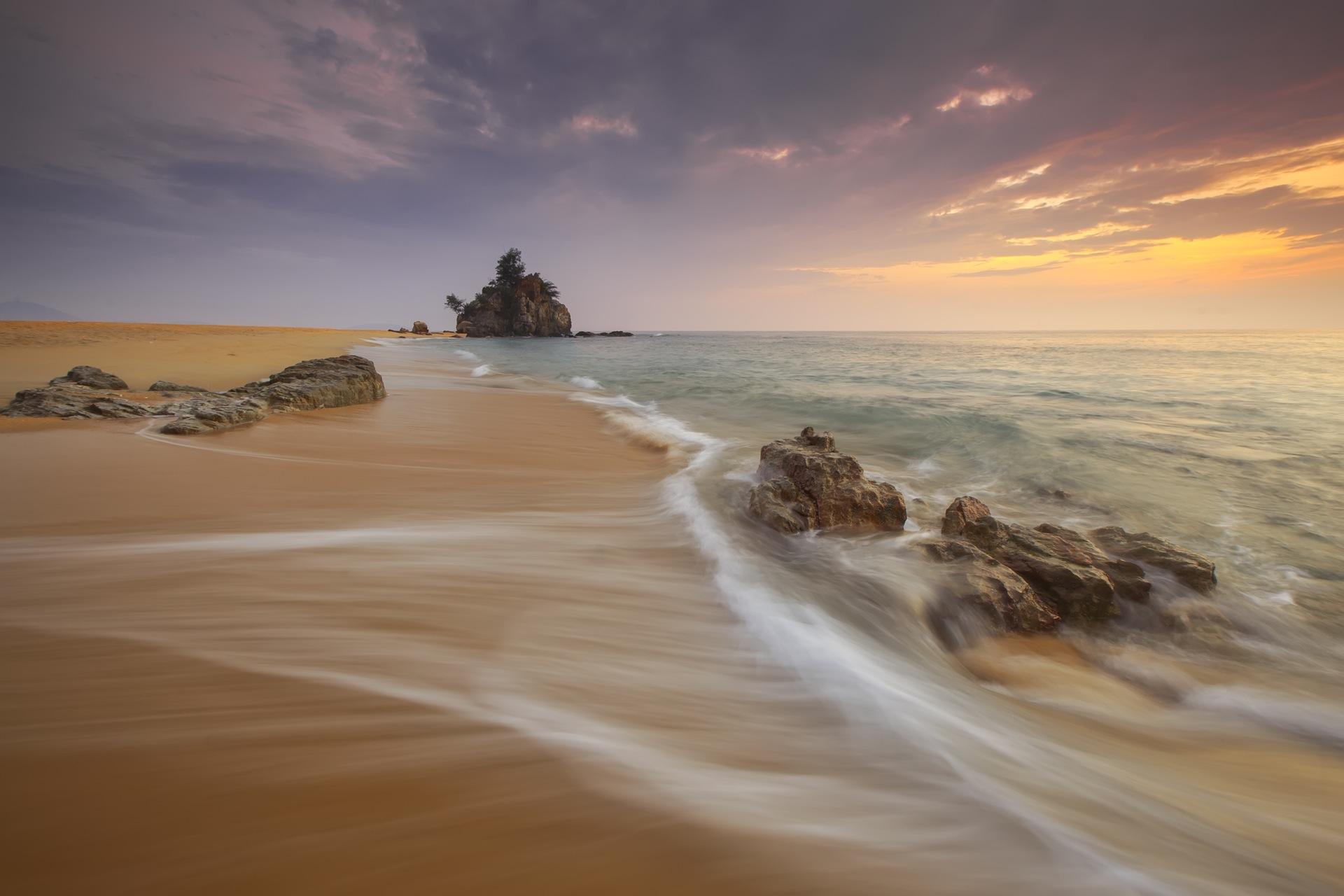 Plage, Rocas, sable, vagues, kemasik, Mer, Coucher de soleil - Fonds d'écran HD - Professor-falken.com