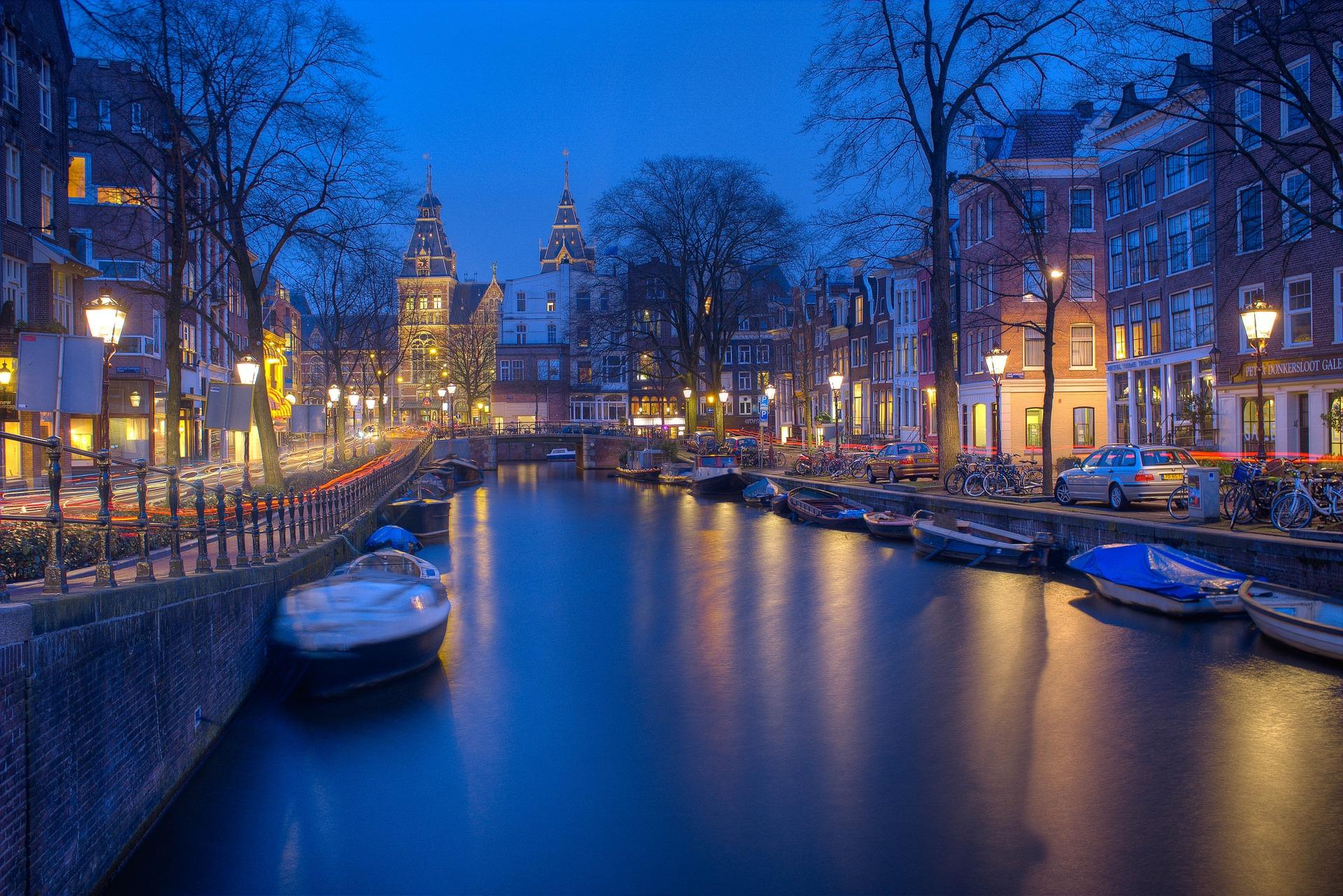 Amsterdam, canali, notte, luci, Barche, serenità - Sfondi HD - Professor-falken.com