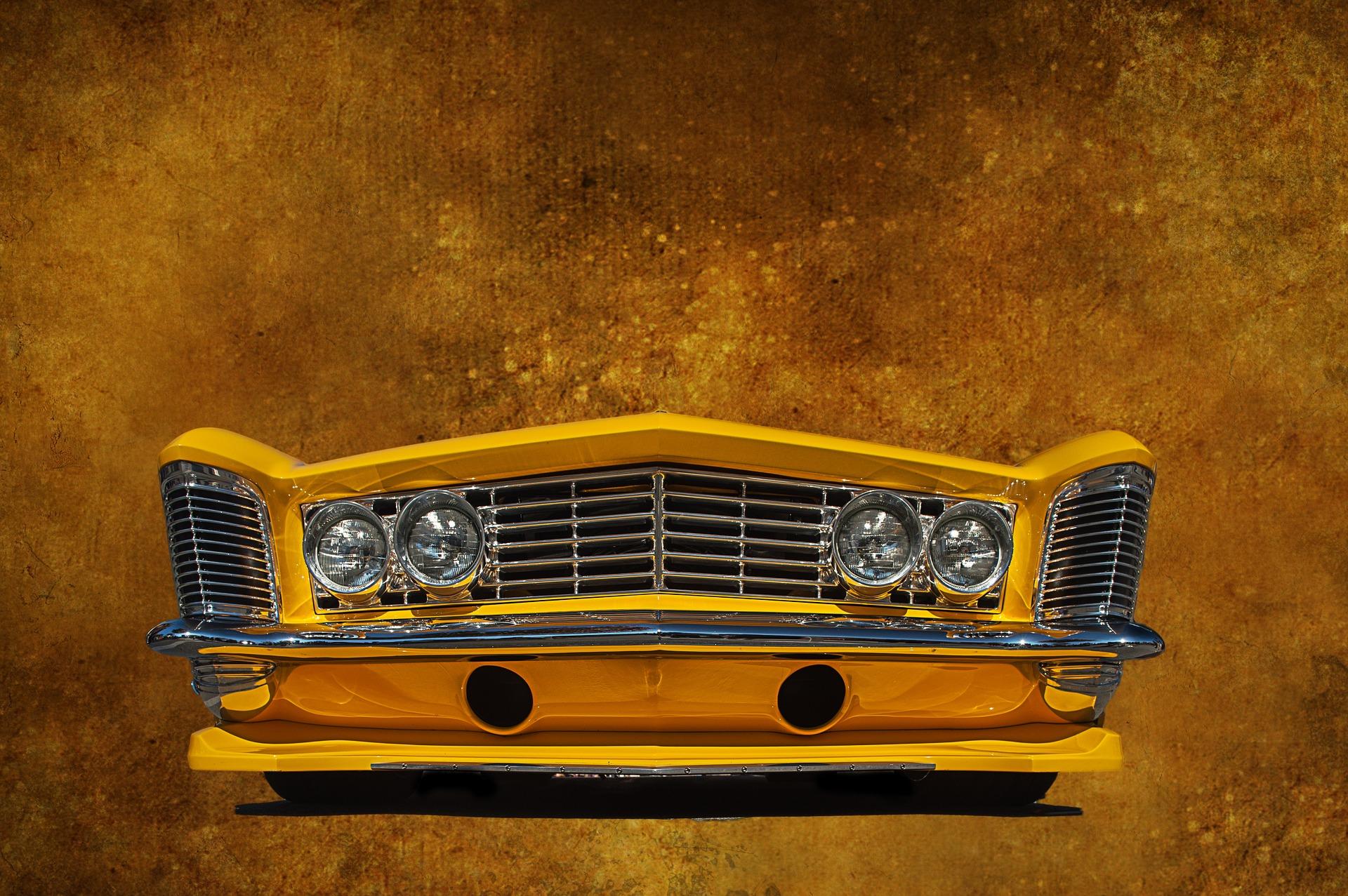 frontal, coche, clásico, vintage, amarillo - Fondos de Pantalla HD - professor-falken.com