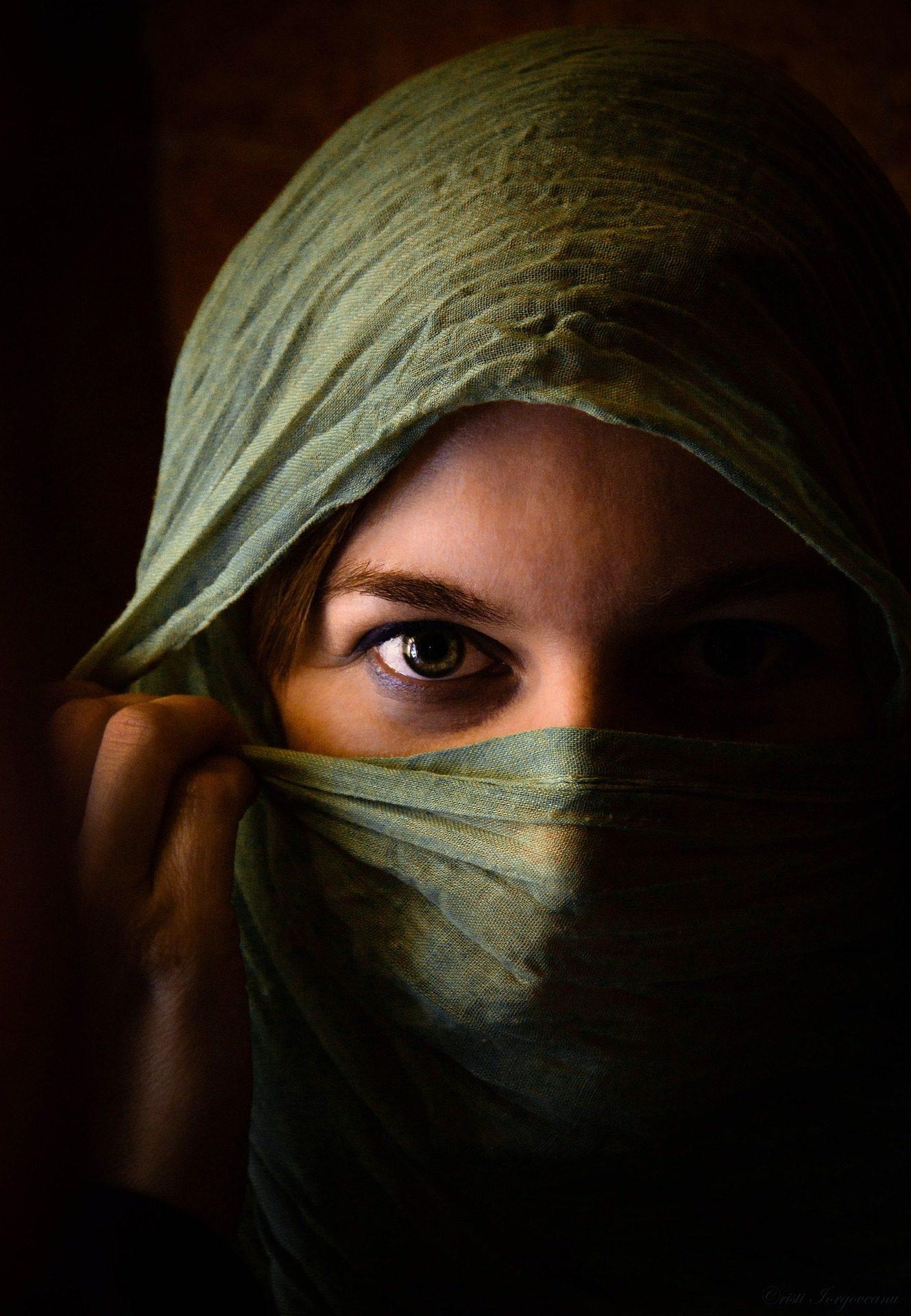 女性, 目, ベール, fular, 外観 - HD の壁紙 - 教授-falken.com