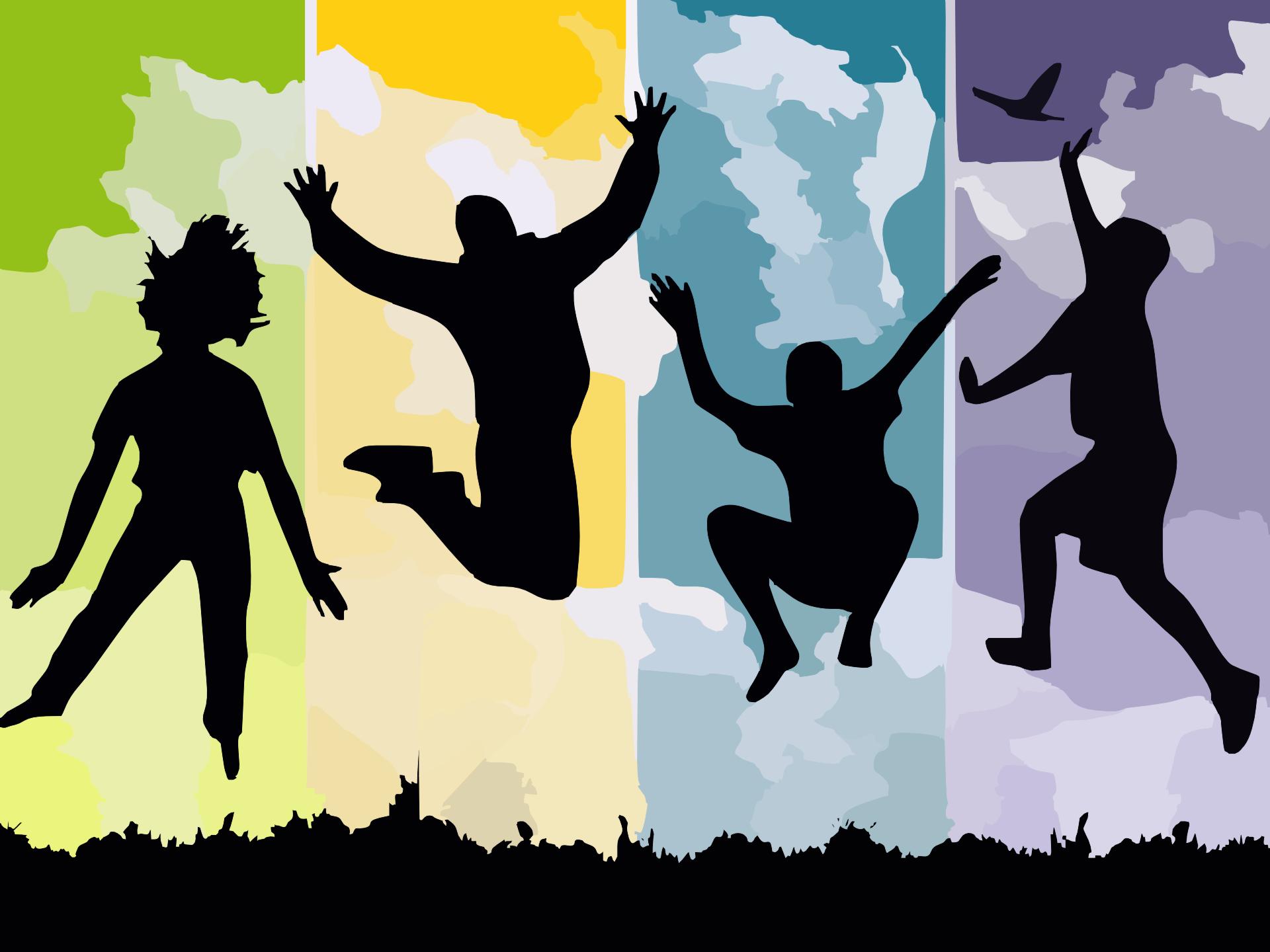 silhuetas, saltos, jovem, felicidade, dança - Papéis de parede HD - Professor-falken.com