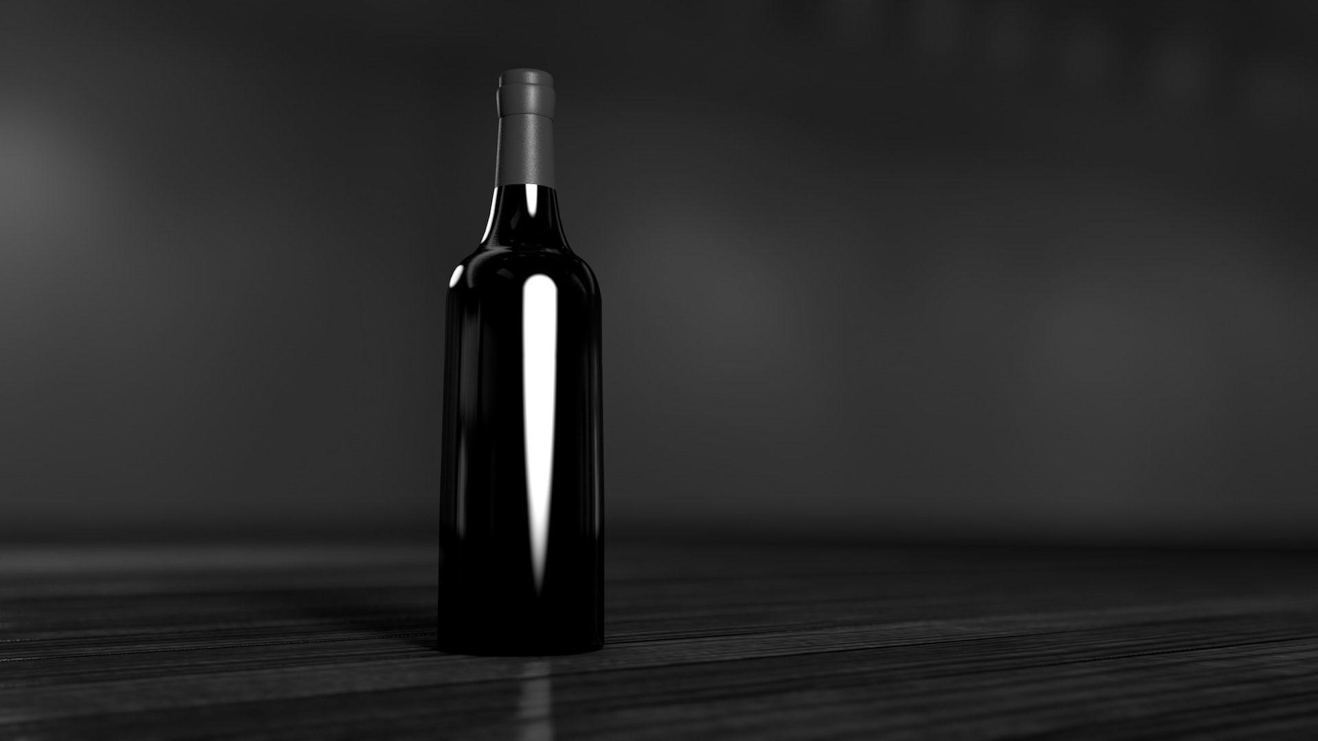 garrafa, vinho, minimalista, Soledad, em preto e branco - Papéis de parede HD - Professor-falken.com