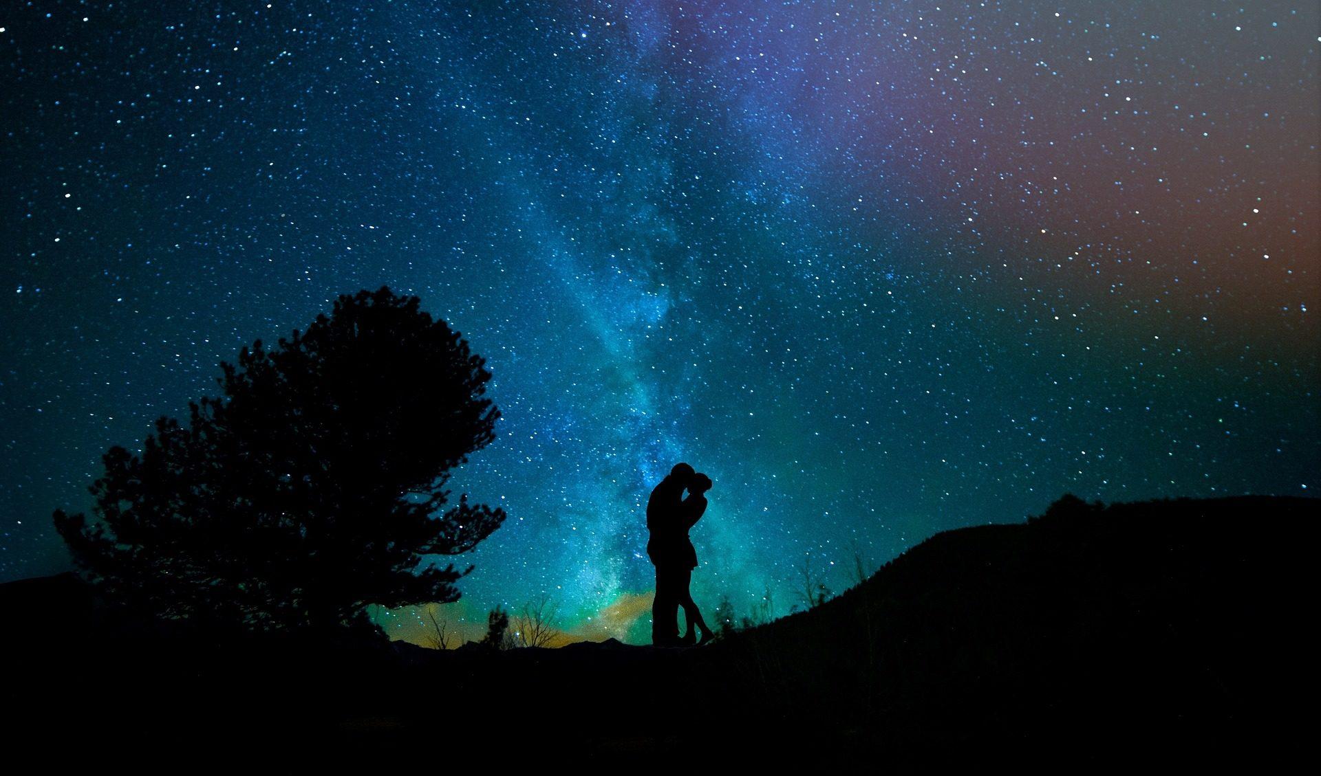 天空, 晚上, 恋人, 星级, 树 - 高清壁纸 - 教授-falken.com