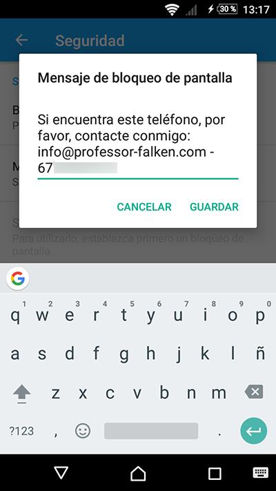 Cómo poner un mensaje informativo en la pantalla de bloqueo de tu Android - Image 3 - professor-falken.com