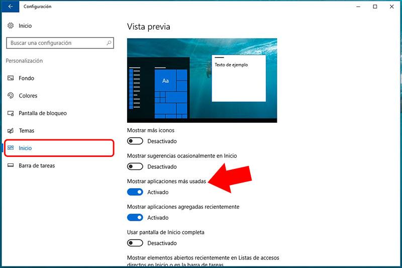 Cómo ocultar, o mostrar, las aplicaciones más usadas en el menú de Inicio en Windows 10 - Image 4 - professor-falken.com