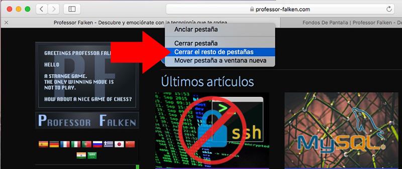Как закрыть другие вкладки открыть в Safari на Mac - Изображение 1 - Профессор falken.com