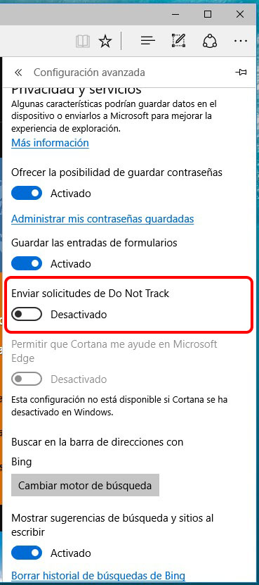 Cómo habilitar el envío de solicitudes Do Not Track en Windows 10 - Image 3 - professor-falken.com